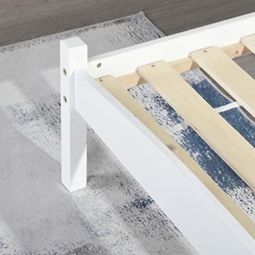 LiePu Holzbett Einzelbett Jugendbett, Kiefer Massivholzbett, Bettgestell mit Lattenrost und Kopfteil, 90 x 190 cm, Weiß - 6