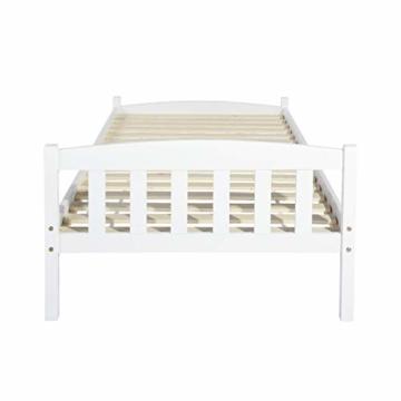 LiePu Holzbett Einzelbett Jugendbett, Kiefer Massivholzbett, Bettgestell mit Lattenrost und Kopfteil, 90 x 190 cm, Weiß - 8