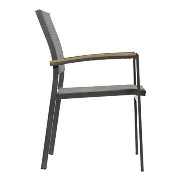 lifestyle4living Gartenstuhl 2er Set (stapelbar), Alu, Bezug (anthrazit), Wetterfester Metall Garten Stapelstuhl. Ideal auch als Balkon-Stuhl und Terrassenstuhl - 3