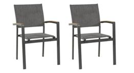 lifestyle4living Gartenstuhl 2er Set (stapelbar), Alu, Bezug (anthrazit), Wetterfester Metall Garten Stapelstuhl. Ideal auch als Balkon-Stuhl und Terrassenstuhl - 1