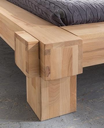 Massivholz-Bett Luna 160 x 200 cm aus Kernbuche, Balkenbett, massives Holzbett als Doppel- und Komfortbett verwendbar, 1 Bett á 160 x 200 cm - 2
