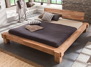 Massivholz-Bett Luna 160 x 200 cm aus Kernbuche, Balkenbett, massives Holzbett als Doppel- und Komfortbett verwendbar, 1 Bett á 160 x 200 cm - 4