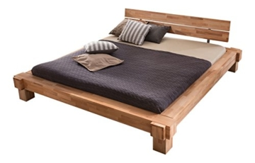 Massivholz-Bett Luna 160 x 200 cm aus Kernbuche, Balkenbett, massives Holzbett als Doppel- und Komfortbett verwendbar, 1 Bett á 160 x 200 cm - 1