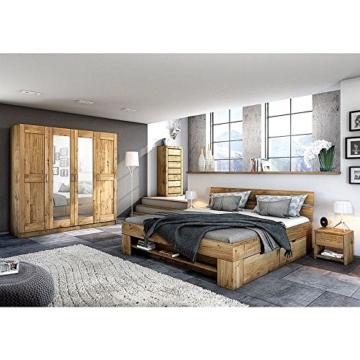 moebelstore24 Futonbett Schlafzimmerbett 180 x 200 inkl. 4 Schubladen Wildeiche-massiv geölt Sara - 2