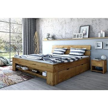 moebelstore24 Futonbett Schlafzimmerbett 180 x 200 inkl. 4 Schubladen Wildeiche-massiv geölt Sara - 1