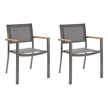 Naterial - 2er-Set stapelbare Gartenstühle ORIS - Aluminium - Eukalyptus - Grau - 1