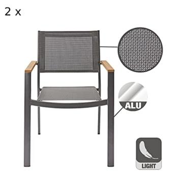 Naterial - 2er-Set stapelbare Gartenstühle ORIS - Aluminium - Eukalyptus - Grau - 2