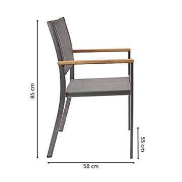 Naterial - 2er-Set stapelbare Gartenstühle ORIS - Aluminium - Eukalyptus - Grau - 3