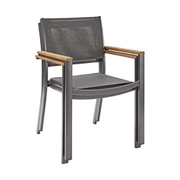 Naterial - 2er-Set stapelbare Gartenstühle ORIS - Aluminium - Eukalyptus - Grau - 4
