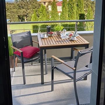 Naterial - 2er-Set stapelbare Gartenstühle ORIS - Aluminium - Eukalyptus - Grau - 5
