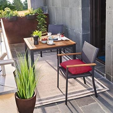 Naterial - 2er-Set stapelbare Gartenstühle ORIS - Aluminium - Eukalyptus - Grau - 6