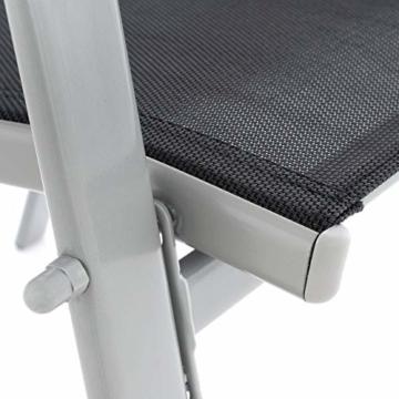 Nexos 4er Set Gartenstuhl Stapelstuhl Hochlehner Terrassenstuhl Gartenmöbel– Textilene Stahl stapelbar – Farbe: Rahmen grau/Bespannung schwarz - 5