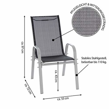 Nexos 4er Set Gartenstuhl Stapelstuhl Hochlehner Terrassenstuhl Gartenmöbel– Textilene Stahl stapelbar – Farbe: Rahmen grau/Bespannung schwarz - 7