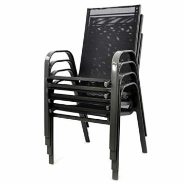 Nexos 4er Set Gartenstuhl Stapelstuhl Stapelsessel Hochlehner Terrassenstuhl – Textilene Stahlgestell – Farbe: Rahmen dunkelgrau/Bespannung schwarz - 2