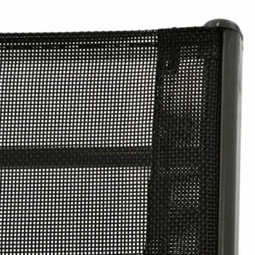 Nexos 4er Set Gartenstuhl Stapelstuhl Stapelsessel Hochlehner Terrassenstuhl – Textilene Stahlgestell – Farbe: Rahmen dunkelgrau/Bespannung schwarz - 3