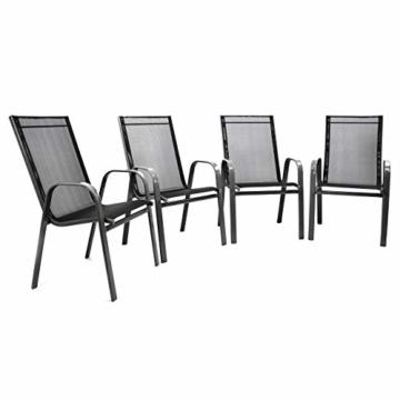Nexos 4er Set Gartenstuhl Stapelstuhl Stapelsessel Hochlehner Terrassenstuhl – Textilene Stahlgestell – Farbe: Rahmen dunkelgrau/Bespannung schwarz - 1