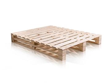 PALETTI Massivholzbett Duo Holzbett Palettenbett Bett aus Paletten mit 11 Leisten, Palettenmöbel Made in Germany, 180 x 200 cm, Fichte Natur - 3