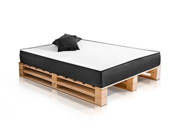 PALETTI Massivholzbett Duo Holzbett Palettenbett Bett aus Paletten mit 11 Leisten, Palettenmöbel Made in Germany, 180 x 200 cm, Fichte Natur - 1