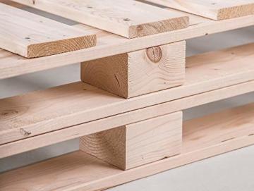 PALETTI Massivholzbett Duo Holzbett Palettenbett Bett aus Paletten mit 11 Leisten, Palettenmöbel Made in Germany, 180 x 200 cm, Fichte Natur - 6