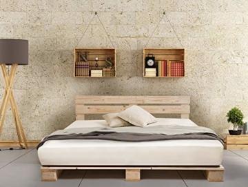 PALETTI Palettenbett inklusive Kopfteil Massivholzbett Holzbett Bett aus Paletten mit 11 Leisten, Palettenmöbel Made in Germany, 180 x 200 cm, Fichte Natur - 2