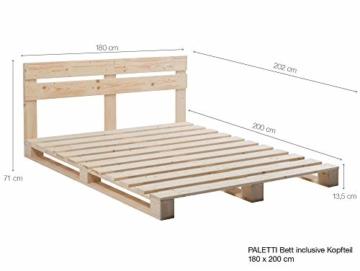PALETTI Palettenbett inklusive Kopfteil Massivholzbett Holzbett Bett aus Paletten mit 11 Leisten, Palettenmöbel Made in Germany, 180 x 200 cm, Fichte Natur - 3