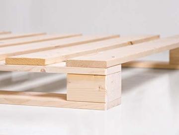 PALETTI Palettenbett inklusive Kopfteil Massivholzbett Holzbett Bett aus Paletten mit 11 Leisten, Palettenmöbel Made in Germany, 180 x 200 cm, Fichte Natur - 4