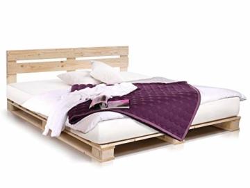 PALETTI Palettenbett inklusive Kopfteil Massivholzbett Holzbett Bett aus Paletten mit 11 Leisten, Palettenmöbel Made in Germany, 180 x 200 cm, Fichte Natur - 1