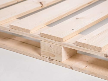 PALETTI Palettenbett inklusive Kopfteil Massivholzbett Holzbett Bett aus Paletten mit 11 Leisten, Palettenmöbel Made in Germany, 180 x 200 cm, Fichte Natur - 5