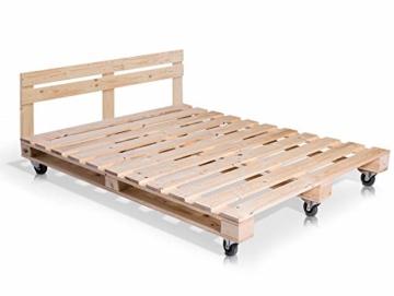 PALETTI Palettenbett inklusive Kopfteil Massivholzbett Holzbett Bett aus Paletten mit 11 Leisten, Palettenmöbel Made in Germany, 180 x 200 cm, Fichte Natur - 6
