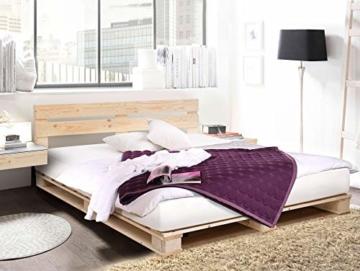 PALETTI Palettenbett inklusive Kopfteil Massivholzbett Holzbett Bett aus Paletten mit 11 Leisten, Palettenmöbel Made in Germany, 180 x 200 cm, Fichte Natur - 7