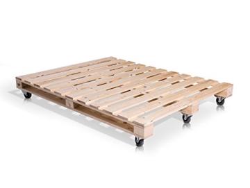 PALETTI Palettenbett Massivholzbett Holzbett Bett aus Paletten mit 11 Leisten, Palettenmöbel Made in Germany, 180 x 200 cm, Fichte Natur - 3