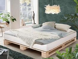 PALETTI Palettenbett Massivholzbett Holzbett Bett aus Paletten mit 11 Leisten, Palettenmöbel Made in Germany, 180 x 200 cm, Fichte Natur - 1
