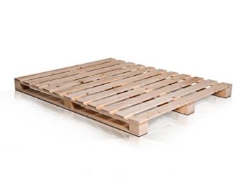 PALETTI Palettenbett Massivholzbett Holzbett Bett aus Paletten mit 11 Leisten, Palettenmöbel Made in Germany, 180 x 200 cm, Fichte Natur - 4
