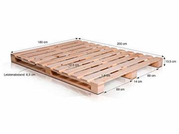 PALETTI Palettenbett Massivholzbett Holzbett Bett aus Paletten mit 11 Leisten, Palettenmöbel Made in Germany, 180 x 200 cm, Fichte Natur - 6