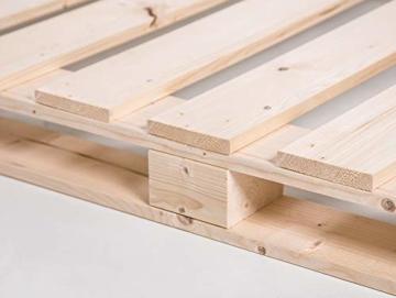 PALETTI Palettenbett Massivholzbett Holzbett Bett aus Paletten mit 11 Leisten, Palettenmöbel Made in Germany, 180 x 200 cm, Fichte Natur - 7