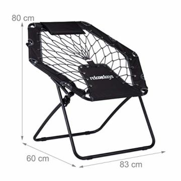 Relaxdays Bungee Stuhl WEBSTER, elastischer Outdoor Gartenstuhl mit Nackenkissen, faltbar, bis 100 kg, schwarz-grau - 3