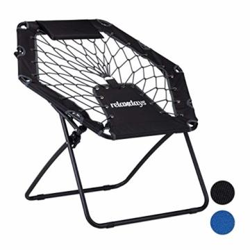 Relaxdays Bungee Stuhl WEBSTER, elastischer Outdoor Gartenstuhl mit Nackenkissen, faltbar, bis 100 kg, schwarz-grau - 1