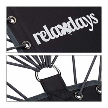 Relaxdays Bungee Stuhl WEBSTER, elastischer Outdoor Gartenstuhl mit Nackenkissen, faltbar, bis 100 kg, schwarz-grau - 7