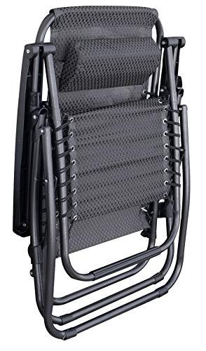 Relaxsessel mit Kopfkissen in grau - stufenlos verstellbar - Sonnenliege Hochlehner Gartenliege Gartenstuhl Liegestuhl klappbar - 2