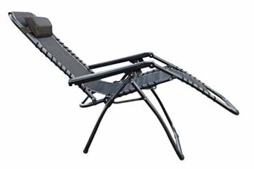 Relaxsessel mit Kopfkissen in grau - stufenlos verstellbar - Sonnenliege Hochlehner Gartenliege Gartenstuhl Liegestuhl klappbar - 3