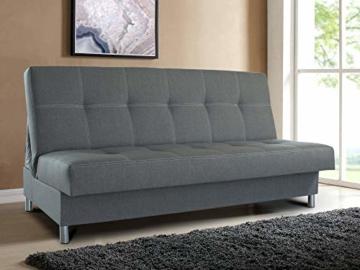 Schlafsofa Bella mit Schlaffunktion - 3 Sitzer Sofa, Couch mit Bettkasten, Bettsofa, Schlafsofa, Polstersofa, Couchgarnitur (Graphit (Inari 94)) - 2