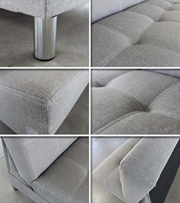 Schlafsofa Bella mit Schlaffunktion - 3 Sitzer Sofa, Couch mit Bettkasten, Bettsofa, Schlafsofa, Polstersofa, Couchgarnitur (Graphit (Inari 94)) - 5