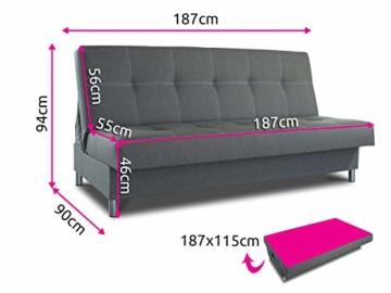 Schlafsofa Bella mit Schlaffunktion - 3 Sitzer Sofa, Couch mit Bettkasten, Bettsofa, Schlafsofa, Polstersofa, Couchgarnitur (Graphit (Inari 94)) - 6