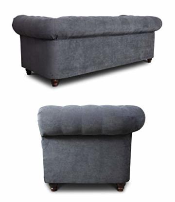 Sofa Chesterfield Asti 3-Sitzer, Couch 3-er, Glamour Design, Couchgarnitur, Sofagarnitur, Holzfüße, Polstersofa - Wohnzimmer (Graphit (Capri 16)) - 2