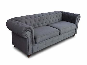Sofa Chesterfield Asti 3-Sitzer, Couch 3-er, Glamour Design, Couchgarnitur, Sofagarnitur, Holzfüße, Polstersofa - Wohnzimmer (Graphit (Capri 16)) - 3
