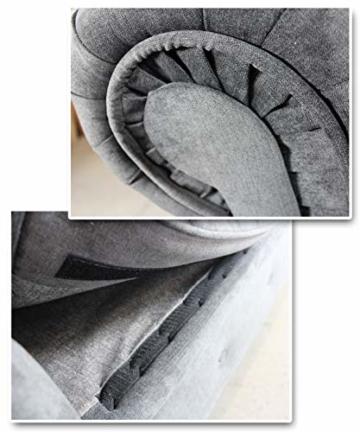 Sofa Chesterfield Asti 3-Sitzer, Couch 3-er, Glamour Design, Couchgarnitur, Sofagarnitur, Holzfüße, Polstersofa - Wohnzimmer (Graphit (Capri 16)) - 4