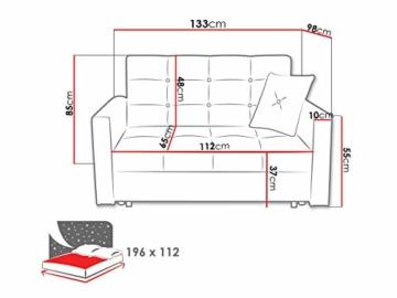 Sofa Viva II Lux mit Schlaffunktion, Bettsofa, 2 Sitzer Polstersofa mit Bettkasten inkl. Kissen, Schlafsofa Sofagarnitur, Wohnlandschaft, Farbauswahl (Tatum 279) - 5