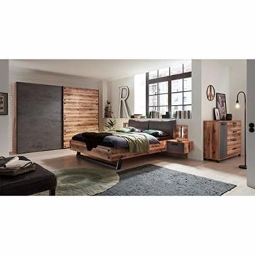 Stella Trading DOVER Stilvolle Doppelbett Bettanlage mit Nachtkommoden & LED-Beleuchtung 180 x 200 cm - Schlafzimmer Komplett-Set in Alpine Lodge Optik, Betonoxid - 289 x 97 x 216 cm (B/H/T) - 5