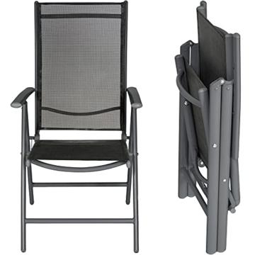 TecTake Aluminium Klappstuhl Gartenstuhl Set verstellbar mit Armlehnen - Diverse Farben und Mengen (Anthrazit   2er Set   Nr. 401633) - 2