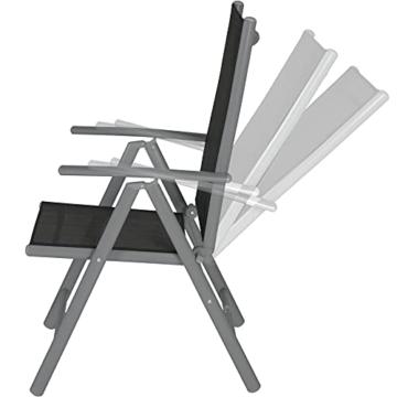 TecTake Aluminium Klappstuhl Gartenstuhl Set verstellbar mit Armlehnen - Diverse Farben und Mengen (Anthrazit   2er Set   Nr. 401633) - 3